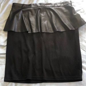 Dresses & Skirts - Black pleather peplum pencil skirt